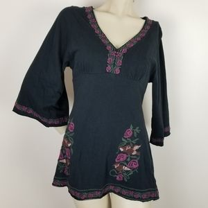 Bcbg maxazria embroidered bird and floral tunic